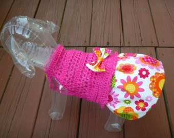 FLOWER POWER Skirt-ter - NEW fabric - 2 to 20 Lb dogs -Includes hair bow