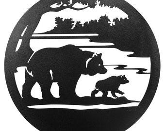 Hand Made Black Bear & Cub Scenic Art Wall Design *NEW*