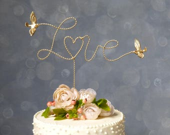 Gold Wire Topper, Wire Cake Topper with Love Birds/ Gold Love Birds, Cake Topper, Wedding Cake Topper Gold