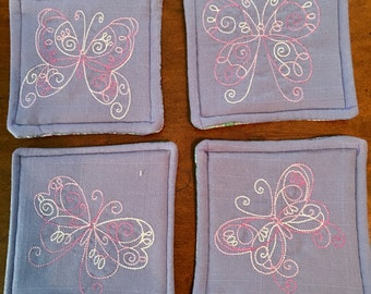 Set of 4 handmade fabric coasters for drinks