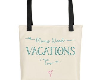 Beach Bag for Moms, Mom Tote, Cool Mothers Day Gift, Travel Vacation Trip, Mama from Kids, Baby on the Way, Women Carry On, Tropical, Funny