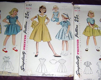 Lot of 7 Vintage SIMPLICITY Patterns for girls all size 10 From 50's -All but one are Factory Folded