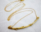 Gold Branch Charm Necklac...