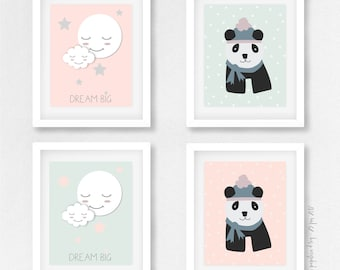 Set of 4 posters for children's room -PANDA-LUNE-NUAGE -  Instant Download