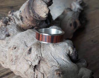 Silver ring with ironwood and silver bands