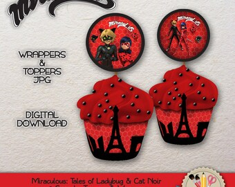 PRINTABLE - Miraculous Ladybug and Cat Noir - Cupcake Toppers & Wrapper - JPEG - 300dpi - #0001.0