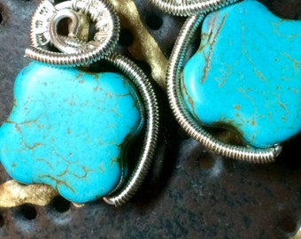 NEW!!  Turquoise cross silver wire wrapped earrings