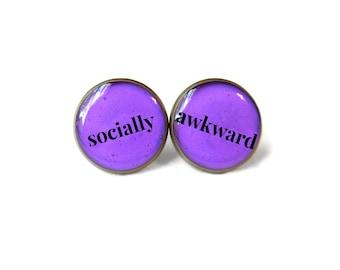 Socially Awkward Stud Earrings - Pastel Goth Soft Grunge Funny Pop Culture Jewelry