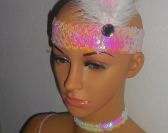 New pink sequined 1920's charleston beaded flapper head piece hat costume c