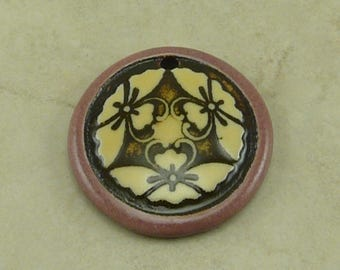 """Mauve Butterfly Disk Pendant - Three Butter Fly Motif with Ivory and Mocha Brown - Clay River Designs 1 1/4"""" Diameter I ship Internationally"""