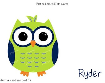 Green Blue Owl Cards Note Cards Set of 10 personalized flat or folded cards