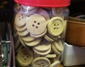 Vintage Wooden Buttons - 130 Pieces