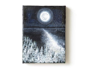 Moon Landscape Painting Night Landscape Painting Lake Painting Nature Painting Night Forest Winter Trees Painting Small Original Painting