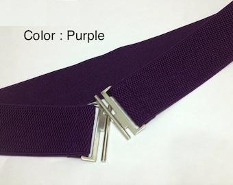 "Elastic Belt, Stretch Belt, Waist belt, wide belt, Women Belts, Plus size belt, Oversize belt, Ivory belt, PURPLE belt, Custom Made 2"" Wide"