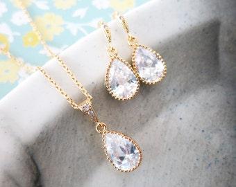 Suzette - Cubic Zirconia Teardrop Jewelry Set, Wedding Bridal Bridesmaid Earrings Necklace, Cubic Zirconia Earrings, gold gift for her