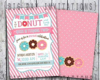 Donut Party Invitation - Doughnut Invitation - Printable Digital file - Pink or Blue Color scheme - quick turnaround - printing available