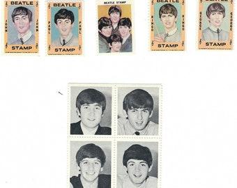 2 SETS 1964 BEATLES STAMPS 1 B/W & 1 Color Set