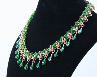 Bead Weaving and Copper Chainmaille with Green Beads Pendant Necklace
