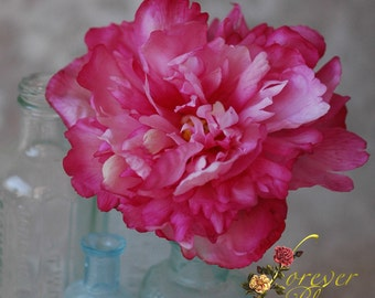 Real Touch Peony / Real Touch Flower Comb / Real Touch Peony Flower Comb / Pink Peony Hair Comb / Real Touch Peony Hair Flower / Pink Peony