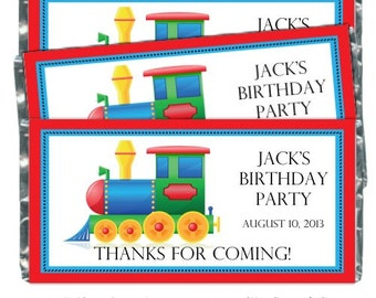 Train Birthday Party Candy Wrappers - fit over 1.55 oz chocolate bars, Train Birthday Party Favor