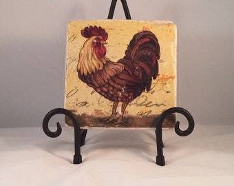 Country Rooster Coaster Set  ( Set includes 4 Tiles )