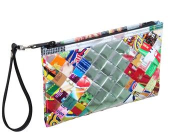 Medium zip wristlet candy wrappers - FREE SHIPPING, clutch wallet, clutch zipper Bag, vegan friendly purse, Wallet purse, women's wallet