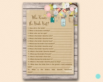 Love Birds Bridal Shower Games, Who knows the Bride Best Game Printable, Bridal Shower Game, Bridal Shower Games Instant Download BS498