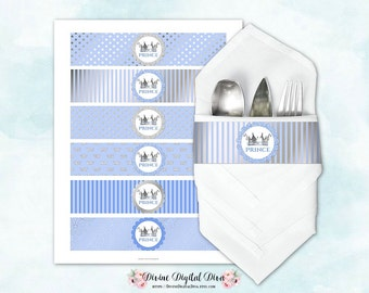Napkin Wrappers Light Blue & Silver |  Prince Crown | Digital Instant Download