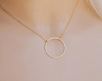 Karma Necklace Gold Filled 14K, Gold Karma Necklace, Karma Ring Necklace,  Gold Karma Ring, Layering Necklace, Minimalist Necklace