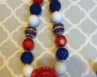 Red white and Blue rosette chunky beaded necklace