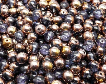 50pcs Czech Pressed Glass Beads Round 6mm Sapphire Gold Capri