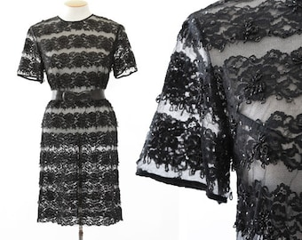 Vintage 60s beaded floral lace dress