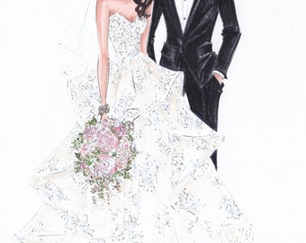 Wedding Party Gift - Custom Wedding Gown Illustration Bride and Groom