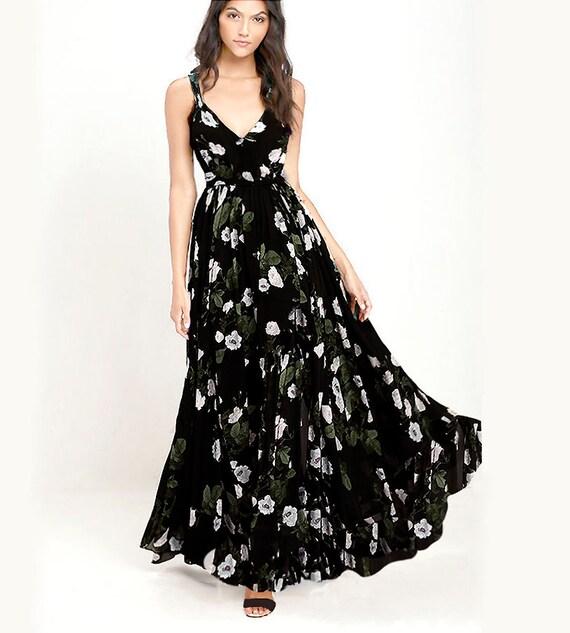 BLACK FLORAL Maxi Dress Viscose Black Dress Floral Gown
