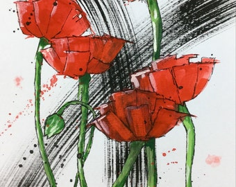 Original Signed Watercolour and Ink painting 'Poppies'.