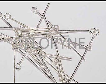 100 PCs 40Mm Œil antique silver or shiny head pin