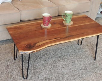 Live Edge Coffee Table Solid Black Walnut Rustic Hairpin Legs Hand Crafted  Satin/Semi
