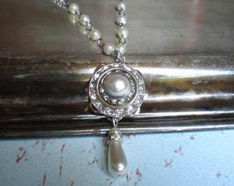 Rhinestone Necklace, Pearl Necklace, Bride