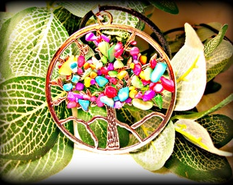 Colorful Silver Tree Necklace (shipping included)
