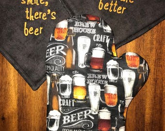 Beer/Ale Embroidered Hot Pads/Pot Holders/Oven Mitt