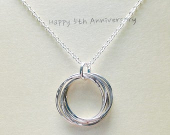 5th Anniversary Gift, 50th Birthday Gift, Entwined Five Silver Rings Necklace Eternity Necklace Intertwined Necklace MADE TO ORDER