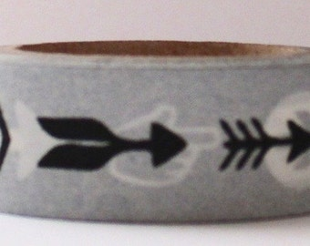 "CLEARANCE  Washi Tape ""This Way"" in Black & White  10 Meters"