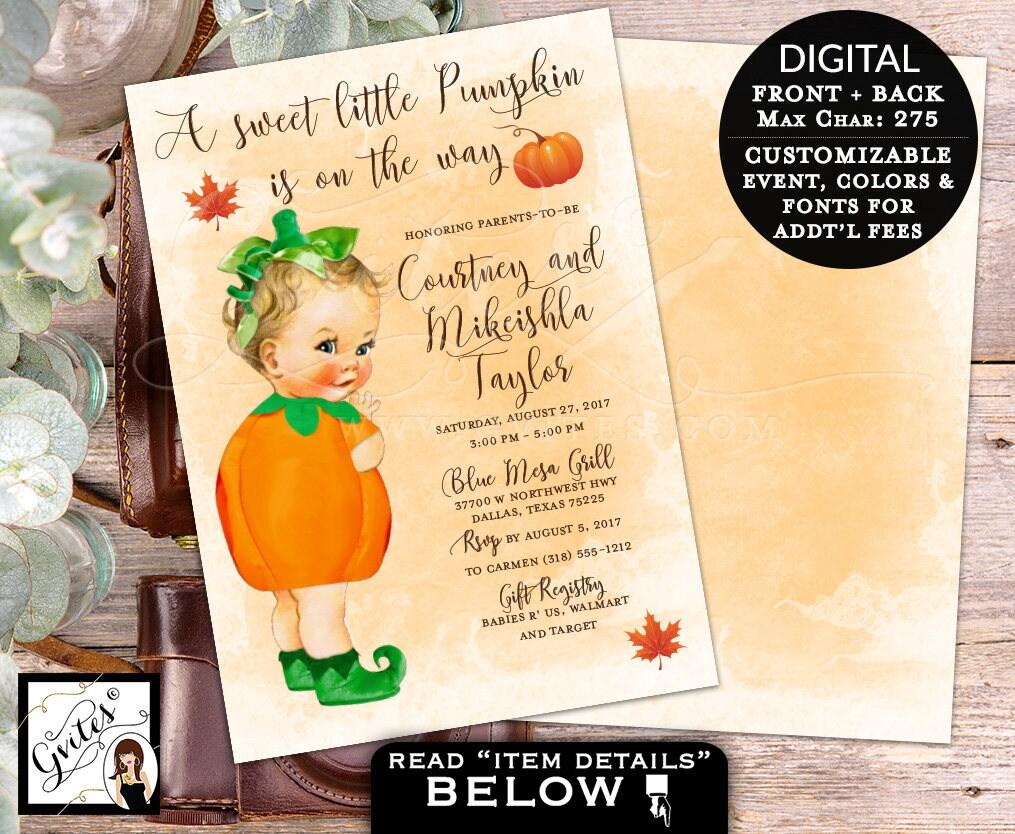 Pumpkin baby shower invitation, BABY GIRL A little pumpkin is on the ...
