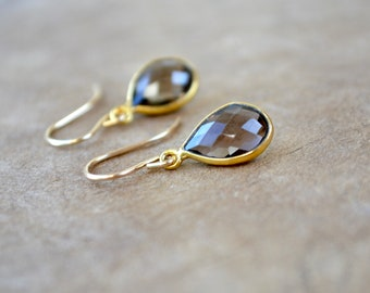 Smoky quartz drop earrings - Dainty gemstone jewellery