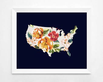 United States Print, Floral United States Map Art Print, Instant Download,  Printable Decor, Art Print, Floral Wall Decor, United States Map