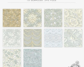INSTANT DOWNLOAD-Vintage Lace Seamless Background Tiles, Patterns - Commercial Use OK