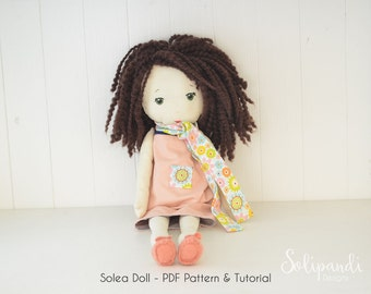 Solea fabric doll pdf pattern/tutorial // Make your own rag doll // Ragdoll pattern // Doll Making Project // Cloth Doll Pattern //Solipandi