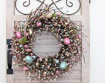 Mini Window Pane Wreath - Easter Wreath -Pearl Easter EGG Pip Berry Wreath - Spring Front Door - Primitive - Easter Home Decor - Farmhouse