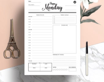 Daily Planner–Day Planner–Productivity Planner–Work Planner–A4&A5 planner insert,US Letter Planner Insert–Printable Planner–Instant Download