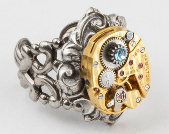 Steampunk Ring with Vintage Gold Hamilton Watch on Adjustable Silver Filigree Band and Blue Topaz Crystal Set in Gear, Steampunk Jewelry